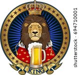 king lion and beer   Shutterstock .eps vector #694710001