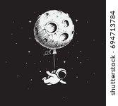 astronaut flies with a moon... | Shutterstock .eps vector #694713784