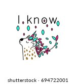 unicorn with flower crown... | Shutterstock .eps vector #694722001