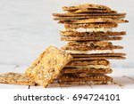 stack of various crispy wheat ... | Shutterstock . vector #694724101