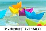 paperboats origami | Shutterstock . vector #694732564