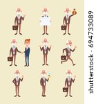 set of elderly business man in... | Shutterstock .eps vector #694733089