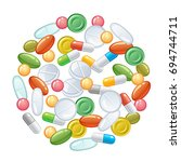 heap of pills on a white... | Shutterstock .eps vector #694744711