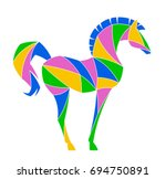 abstract horse on a white... | Shutterstock .eps vector #694750891