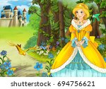 cartoon fairy tale scene with... | Shutterstock . vector #694756621