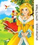 cartoon scene with cute princes ... | Shutterstock . vector #694757464