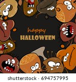 happy halloween with monsters....   Shutterstock .eps vector #694757995