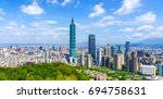 panoramic of city taipei with... | Shutterstock . vector #694758631