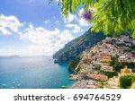 view on positano on amalfi...   Shutterstock . vector #694764529