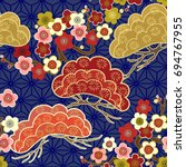 japanese pattern. cherry... | Shutterstock .eps vector #694767955
