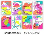 set of creative freehand cards. ... | Shutterstock .eps vector #694780249
