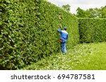 man is cutting trees in the... | Shutterstock . vector #694787581