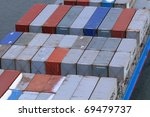 container ship with cargo - stock photo