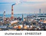 factories in yokkaichi  japan. | Shutterstock . vector #694805569