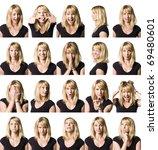 twenty portrait of a woman with ... | Shutterstock . vector #69480601