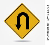 u turn roadsign on white... | Shutterstock .eps vector #694812715