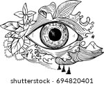 black and white picture of an... | Shutterstock .eps vector #694820401