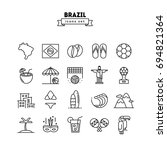 brazil  thin line icons set ... | Shutterstock .eps vector #694821364