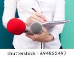 journalist. news conference.   Shutterstock . vector #694832497