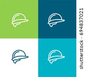 helmet green and blue material...