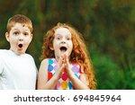 surprised little children smile ... | Shutterstock . vector #694845964
