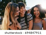 close up portrait of smiling... | Shutterstock . vector #694847911