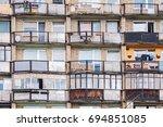 old residential building facade ... | Shutterstock . vector #694851085