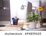 workplace with notebook laptop... | Shutterstock . vector #694859635