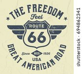 rout 66 feel the freedom   tee... | Shutterstock .eps vector #694862341