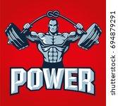 muscle bodybuilder man lifting... | Shutterstock .eps vector #694879291