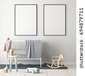 mock up poster in the children... | Shutterstock . vector #694879711
