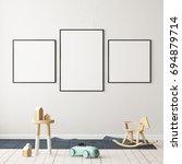mock up poster in the children... | Shutterstock . vector #694879714