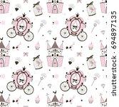 princess castle pattern | Shutterstock .eps vector #694897135