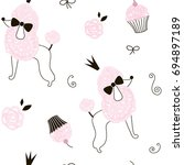 princess poodle dog pattern | Shutterstock .eps vector #694897189