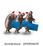 three hippos going to... | Shutterstock . vector #694904659