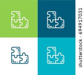 puzzle green and blue material...