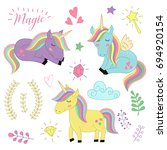 set  of isolated unicorns and... | Shutterstock .eps vector #694920154