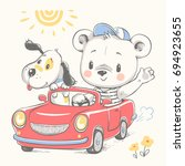 cute baby bear driving car and... | Shutterstock .eps vector #694923655