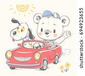 cute bear driving the car and a ...