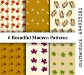 set of beautiful leave patterns ... | Shutterstock .eps vector #694925281