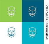 skull green and blue material...