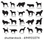 Stock vector vector set of different breeds dogs silhouettes isolated in black color on white backround part 694931074