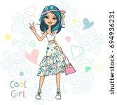 cute beautiful girl in t shirt... | Shutterstock .eps vector #694936231