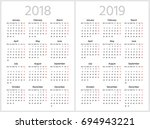 simple calendar for 2018 and... | Shutterstock .eps vector #694943221