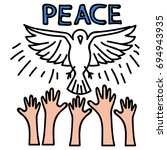 peace pin up and t shirt design | Shutterstock .eps vector #694943935