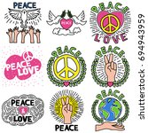 peace pin up and t shirt design | Shutterstock .eps vector #694943959