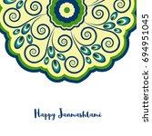 happy janmashtami  indian... | Shutterstock .eps vector #694951045