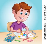 boy coloring with crayons | Shutterstock .eps vector #694954654
