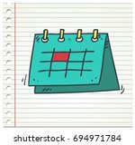 calender doodle color icon... | Shutterstock .eps vector #694971784