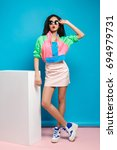 young woman fashion lookbook... | Shutterstock . vector #694979731